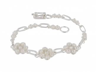 Zilveren filigrain armband uit Peru met bloemknopjes