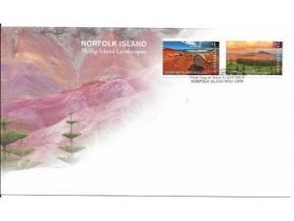 FDC Norfolk Island met landschappen van Phillip Island 2019