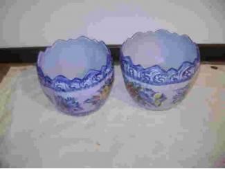 2 Bloempotten (caspout) van Porselein van Hollandse Blauwe Delfts