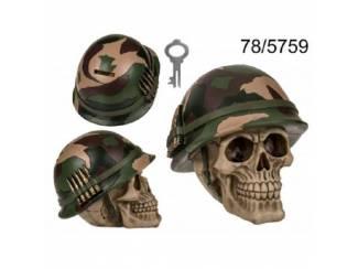 Spaarpot met slot, schedel met legerhelm